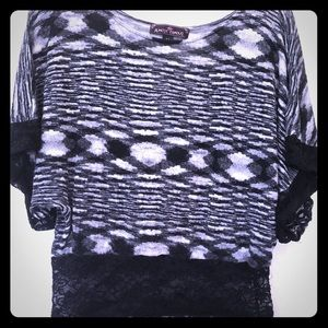 Black and white knit dolman style top
